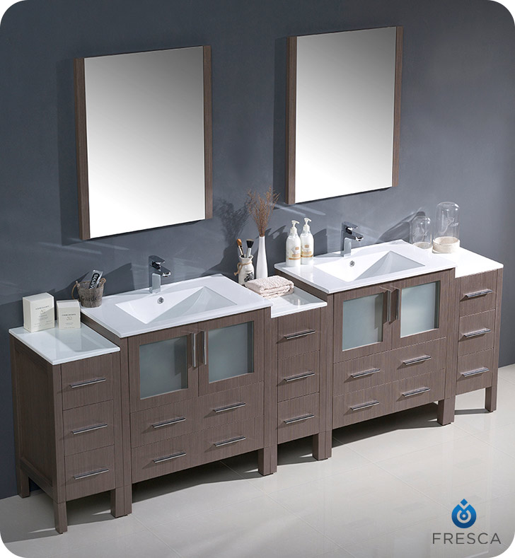 Fresca fvn62 96go uns torino 96 double sink modern for 96 bathroom cabinets