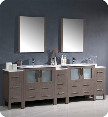 "Fresca FVN62-96GO-UNS Torino 96"" Double Sink Modern Bathroom Vanity with 3 Side Cabinets and Integrated Sinks in Gray Oak"