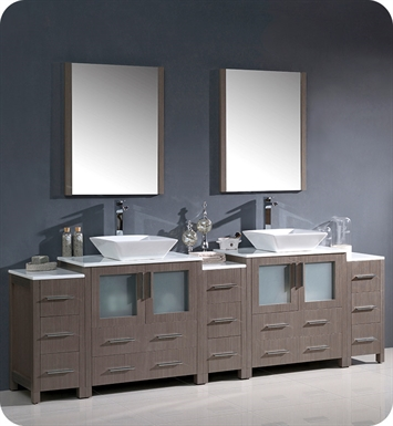 "Fresca FVN62-96GO-VSL Torino 96"" Double Sink Modern Bathroom Vanity with 3 Side Cabinets and Vessel Sinks in Gray Oak"