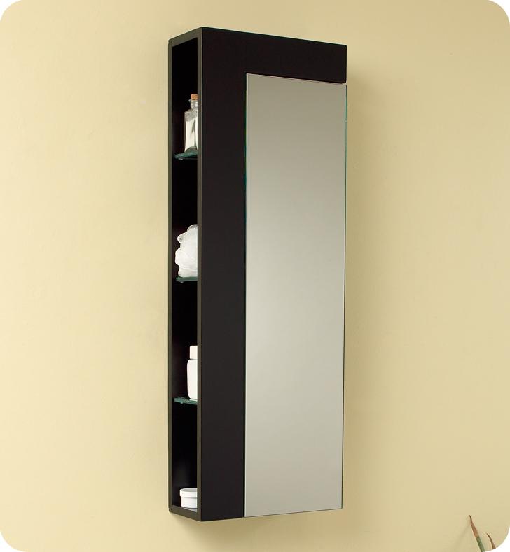 Fresca Fst1024es Espresso Bathroom Linen Side Cabinet With Large Mirror Door
