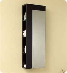 Fresca Espresso Bathroom Linen Side Cabinet with Large Mirror Door