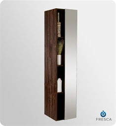 Fresca Walnut Bathroom Linen Side Cabinet with 4 Cubby Holes and Mirror