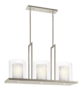 Kichler 42548CLP Triad Collection Chandelier Linear 3 Light in Classic Pewter