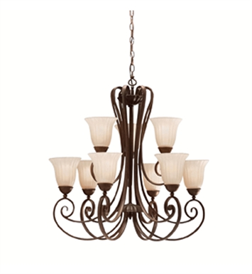Kichler 1828TZ Willowmore Collection Chandelier 9 Light in Tannery Bronze