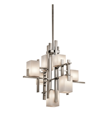 Kichler 42940CLP City Lights Collection Chandelier 7 Light Halogen in Classic Pewter