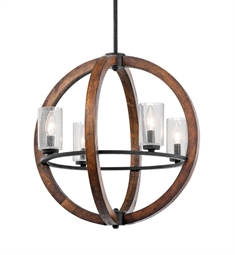 Kichler Grand Bank Collection Chandelier 4 Light in Auburn Stained Finish