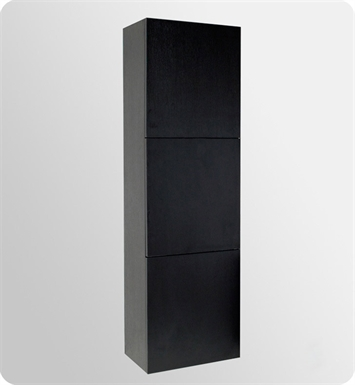 Fresca FST8090BW Black Bathroom Linen Side Cabinet with 3 Large Storage Areas
