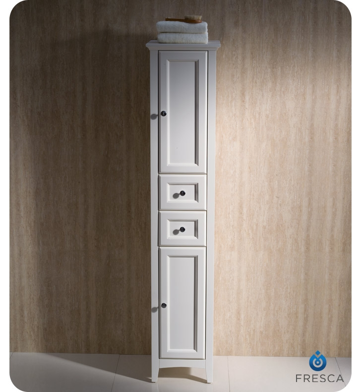 Bathroom Floor Linen Cabinets : Fresca fst aw oxford antique white tall bathroom linen