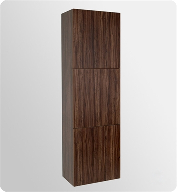 Fresca FST8090GW Walnut Bathroom Linen Side Cabinet with 3 Large Storage Areas