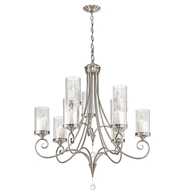 Kichler 42863CLP Lara Collection Chandelier 9 Light in Classic Pewter