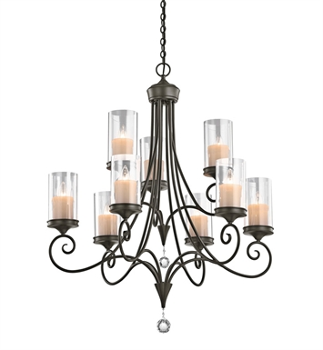 Kichler 42863SWZ Lara Collection Chandelier 9 Light in Shadow Bronze