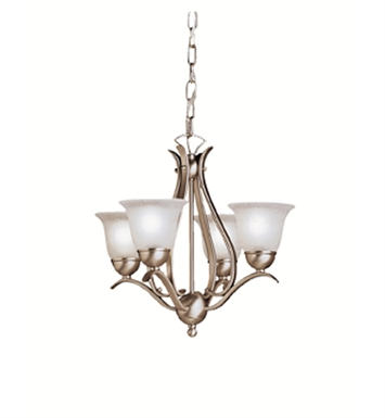 Kichler 2019NI 4-Bulb Mini Chandelier from the Dover Collection With Finish: Brushed Nickel