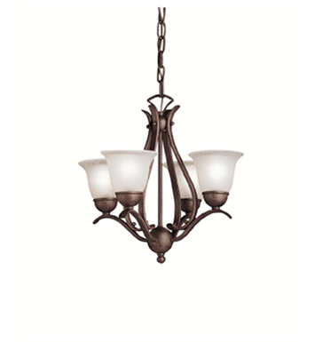 Kichler 2019TZ Dover Collection Mini Chandelier 4 Light in Tannery Bronze