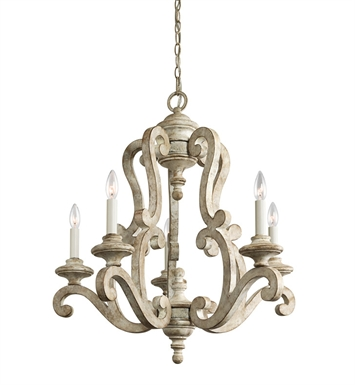 Kichler 43256DAW Hayman Bay Collection Chandelier 5 Light in Distressed Antique White