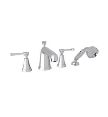 "Rohl U.3152LS-PN Perrin & Rowe Deco 11 1/8"" Two Lever Handle Widespread/Deck Mounted Roman Tub Filler with Handshower With Finish: Polished Nickel"