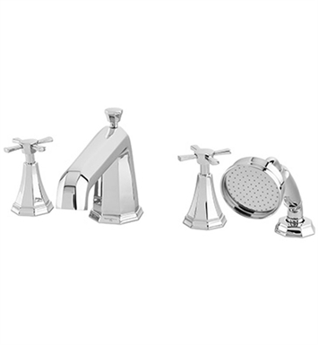 Rohl U.3153X Perrin & Rowe Deco 4-Hole Deck Mounted Tub Filler and Handshower with Cross Handles