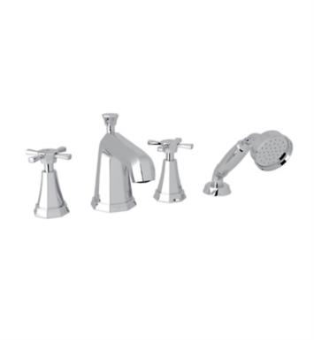 "Rohl U.3153X Perrin & Rowe Deco 11 1/8"" Two Cross Handle Widespread/Deck Mounted Roman Tub Filler with Handshower"
