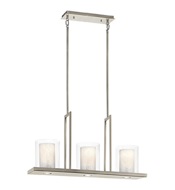 Kichler 42547CLP Triad Collection Chandelier Linear 3 Light in Classic Pewter