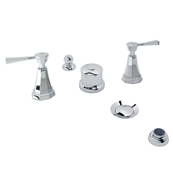 Rohl U.3990LS-STN Perrin & Rowe Deco 5-Hole Bidet Faucet with Metal Lever Handles With Finish: Satin Nickel