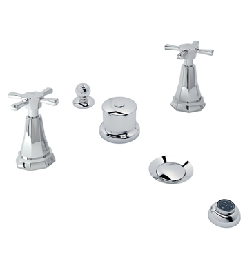 Rohl U.3991X-APC Perrin & Rowe Deco 5-Hole Bidet Faucet with Cross Handles With Finish: Polished Chrome