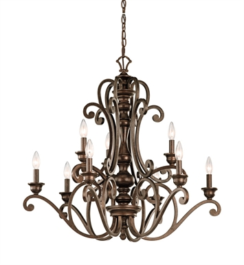 Kichler 43280TRZ Chandelier 9 Light in Terrene Bronze
