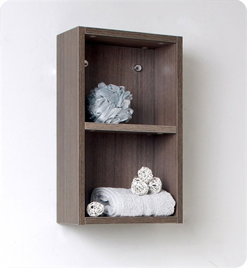 Fresca FST8092GO Gray Oak Bathroom Linen Side Cabinet with 2 Open Storage Areas