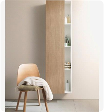 Duravit DS1238L5243 DuraStyle Tall Cabinet With Cabinet Hinge: Left Side Hinge And Body Finish: Basalt Matt And Front Finish: European Oak