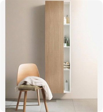Duravit DS1248L1852 DuraStyle Tall Cabinet With Cabinet Hinge: Left Side Hinge And Body Finish: European Oak And Front Finish: White Matt