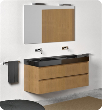 Catalano ZO1252DR-P08 Zero 125 Vanity Base Cabinet with Two Drawers With Finish: Elevated Ebony High Gloss (Wood Grain Laminate)