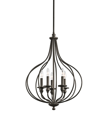 Kichler 43335OZ Kensington Collection Foyer Pendant/Cage 5 Light in Olde Bronze