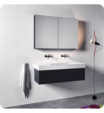 Catalano ZD1251DR-H05 Zero Domino 125 Vanity Base Cabinet with One Drawer With Finish: Slate (High Gloss)