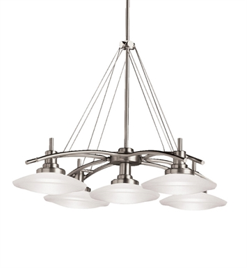 Kichler 2055NI Structures Collection Chandelier 5 Light Halogen in Brushed Nickel
