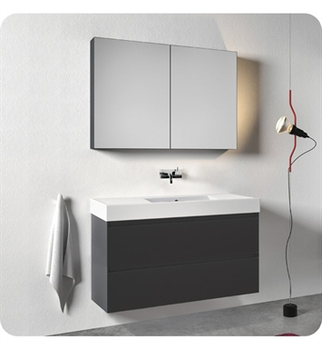 Catalano ZD1252DR-H08 Zero Domino 125 Vanity Base Cabinet with Two Drawers With Finish: Graphite (High Gloss)