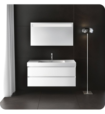 Catalano ZD1002DR-H01 Zero Domino 100 Vanity Base Cabinet with Two Drawers With Finish: Arctic (High Gloss)