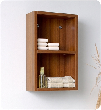 Fresca FST8092TK Teak Bathroom Linen Side Cabinet with 2 Open Storage Areas