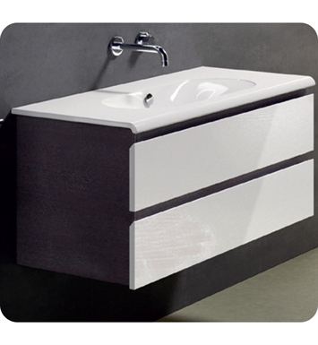Catalano SF1002DR-P03 Sfera 100 Vanity Base Cabinet with Two Drawers With Finish: Black Flame (Pattern Laminate)