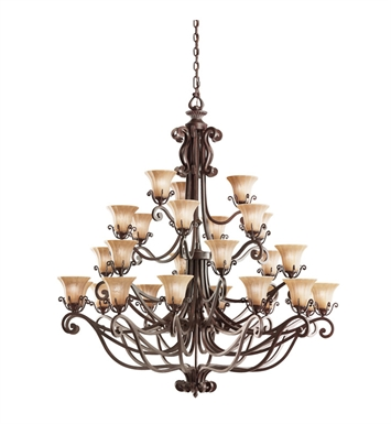 Kichler 1858CZ Cottage Grove Collection Chandelier 27 Light in Carre Bronze
