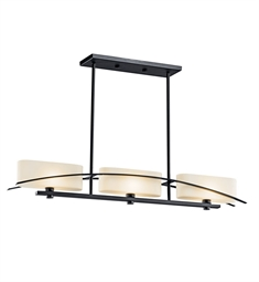 Kichler Suspension Collection Chandelier Linear 3 Light Halogen in Black (Painted)