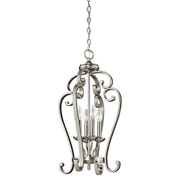 Kichler 43165NI Monroe Collection Chandelier Foyer Cage 4 Light in Brushed Nickel