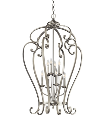 Kichler 43167NI Monroe Collection Chandelier Foyer Cage 8 Light NI in Brushed Nickel