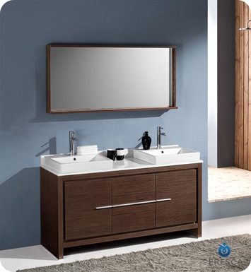 "[DIscontinued]Fresca Allier 60"" Modern Double Sink Bathroom Vanity in Wenge Brown with Vessel Sinks"