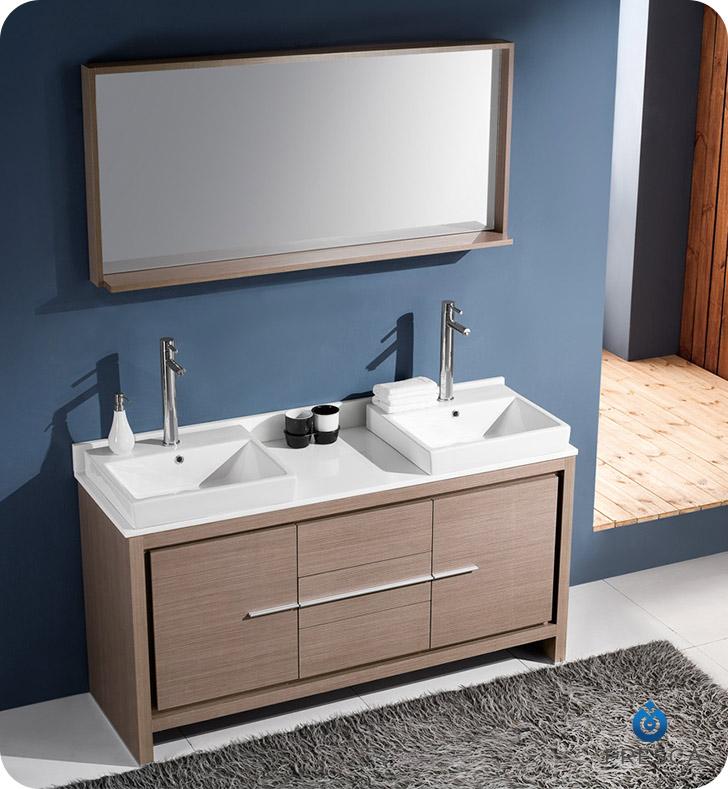 Fresca allier 60 modern double sink bathroom vanity in - Bathroom vanity with vessel sink sale ...