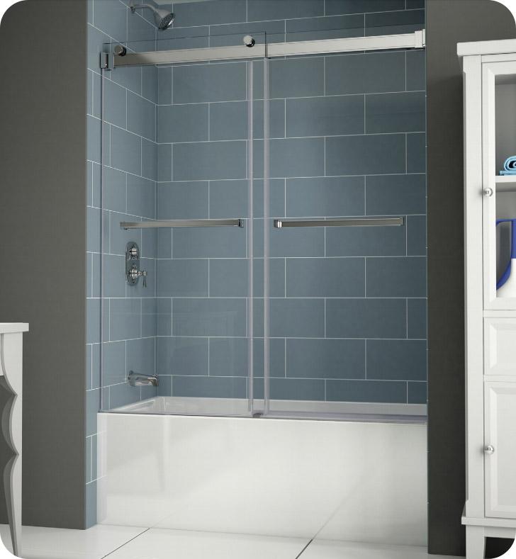Fleurco npt60 11 40 gemini plus frameless bypass sliding for Bathtub shower doors hardware