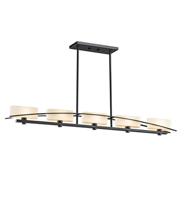 Kichler 42018BK Suspension Collection Chandelier Linear 5 Light Halogen in Black (Painted)