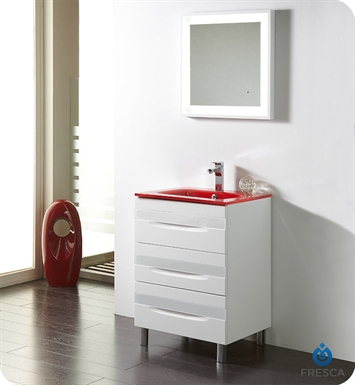 "Fresca Platinum FPVN7562-WH-RD-WH Giocco 24"" Glossy White Modern Bathroom Vanity"