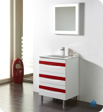 "Fresca Platinum FPVN7562-WH-WH-RD Giocco 24"" Glossy White/Red Modern Bathroom Vanity"