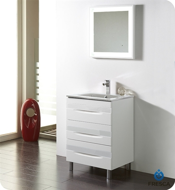 "Fresca Platinum FPVN7562-WH-WH-WH Giocco 24"" Glossy White Modern Bathroom Vanity"