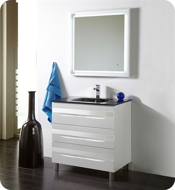 "Fresca Platinum FPVN7564-WH-BL-WH Giocco 32"" Glossy White Modern Bathroom Vanity"