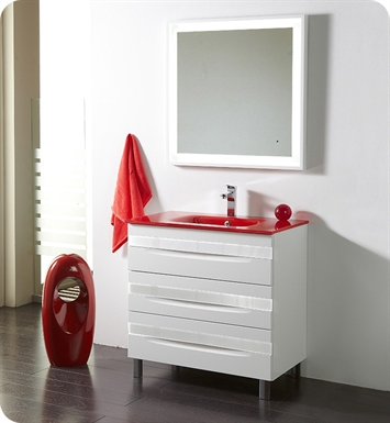"Fresca Platinum FPVN7564-WH-RD-WH Giocco 32"" Glossy White Modern Bathroom Vanity"