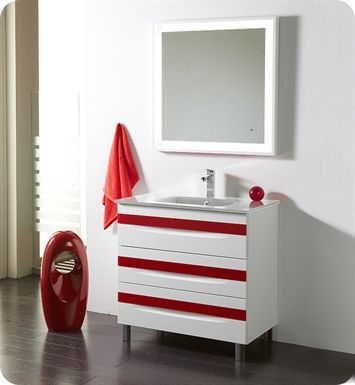 "Fresca Platinum FPVN7564-WH-WH-RD Giocco 32"" Glossy White/Red Modern Bathroom Vanity"